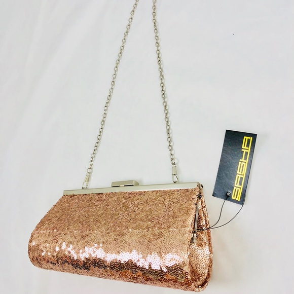 71e2703769aa6 Sasha Rose Gold Sequin Clutch w  Should Strap